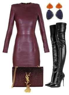 """""""Untitled #733"""" by cheechchonghigh ❤ liked on Polyvore featuring Balmain, Alexander McQueen, Yves Saint Laurent and Vianna B.R.A.S.I.L"""