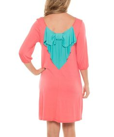 Coveted Clothing Pink & Aqua Bow Scoop Neck Dress | zulily