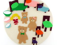 Goldilocks Three Bears Toy, Felt Quiet Activity Toys, Montessori Learning Toys, Child Quiet Book Activity, Child Activity Learning Toy Gifts