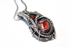 Mexican Fire Opal Necklace Fine Silver Futuristic