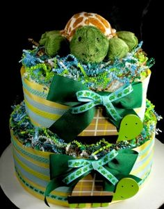 2 Tier Blue Turtle in a Pond Diaper Cake Baby Shower Boy Mary Meyer
