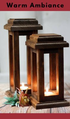 reclaimed wood lanterns | fall decor | Thanksgiving |rustic