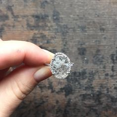 natural diamond slice + pave diamond halo = a perfectly imperfect custom…