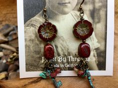 Boho Rustic Artisan Handmade Czech Glass Turquoise Patina Copper earrings by Bohemystic on Etsy Copper Earrings, Drop Earrings, Czech Glass, Artisan Jewelry, Ear Piercings, Earrings Handmade, Dangles, Buy And Sell, Bohemian