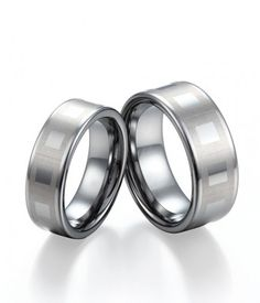 Couple's Flat Polished Shiny Tungsten Wedding Bands Set with Square Pattern | Tungsten Carbide Rings 24HOUR SHIPPING