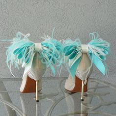 Bridal Formal  Shoe Clips Tiffany Blue And by Chuletindesigns, $40.00