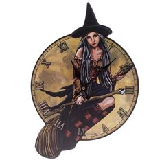 Wall Clock Fantasy Witch on Broomstick Shaped Home by getgiftideas