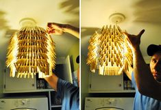 A VERY simple clothespin chandelier how-to!   I want to make one for my laundry/mudroom to go w/ my clothespin wreath!!!