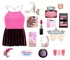 """""""MADE BY MY LITTLE SISTER ❤✨💜"""" by lipsy-look ❤ liked on Polyvore featuring Boohoo, Topshop, Nails Inc., Charlotte Russe, Quay, Gucci, Casetify, MAC Cosmetics, tarte and Surratt"""