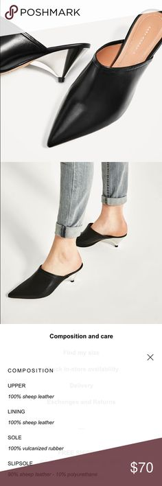Zara 100% sheep leather black Pointed mules slides NWT. Comes with dust bag and box. All material and description about the mules are in the pictures. Feel free to reach out with questions or make an offer.! Zara Shoes Mules & Clogs