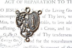 "Rosary Center - 1"" - Bronze or Sterling Silver - Lourdes - Miraculous Medal (R14-930)"