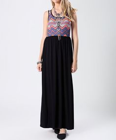 Purple & Black Top Contrast Maxi Dress