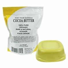 Organic Pure Raw Kosher Food Grade Cocoa Butter Non-Deodorized By Mary Tylor Naturals One LB (16 oz) Amazing Chocolate Aroma, Rich In Antioxidants. The Best Cocoa Butter on Amazon