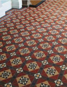 Victorian Floor Tile Hand Decorated Tiles Gordon Buff on Black 53 x 53 with Hatfield Pattern