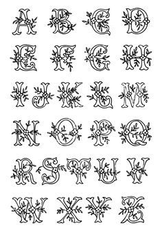 Vintage Embroidery Patterns vintage monogram initial lettering - Monogram lettering alphabet A - Z embroidery transfer pattern in a leafy design - free Monogram Letters Font, Hand Lettering Alphabet, Letters And Numbers, Calligraphy Letters, Initial Letters, Decorative Alphabet Letters, Decorative Lettering, Initial Fonts, Alphabet Posters