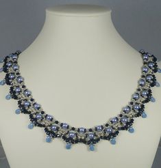 Necklace Woven with Blue Pearls Silver and Navy by IndulgedGirl