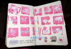 ehdreeahnah:  My Wreck This Journal|Page 103-104 →Make Prints Using an Ink Pad and Cut Vegetables.  The Great Escape - P!NK