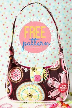 Sewing Pattern Freebie from fynesdesigns.com | Make this sweet girl's purse with the free sewing pattern. Easy to follow instructions with photos, and free sewing pattern included.