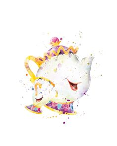 Chip and Mrs. Potts watercolor art print