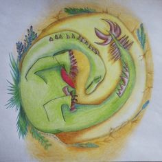 A new-born baby dinosaur in a nest. Illustrations, Inara's ART: Stories and scribbles - Zgodbe in cicke-cacke