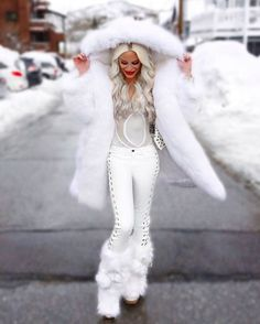 All white winter outfit