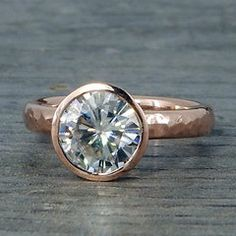 Rose Gold Engagement Ring - 2 Carat Forever One Moissanite and Recycled Gold with Hybrid Peekaboo Prong Bezel, Eco Friendly, Made to Order