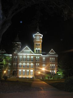 Samford Hall at night
