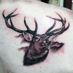 Back Of Shoulder Blade Mens Deer Tattoo