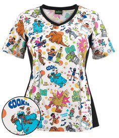 Cherokee Tooniforms Scrubs The Gang's All Here Print Top Style # Pediatric Scrubs, Pediatric Nursing, Scrubs Outfit, Scrubs Uniform, Disney Scrubs, Cute Scrubs, Medical Scrubs, Scrub Tops, Pediatrics