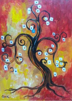 Friendship Tree: A Funky tree  that brings out the inner funk, Notice theone blue square. 2 hrs. Super Easy