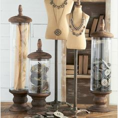 Glass Cylinder Display Container, Set of 3