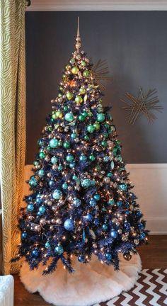 Árvores de Natal -Árvore de Natal azul e dourado