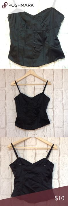 Black corset top spaghetti straps cute Black satin corset top with adjustable straps and front hooks H&M Tops Tank Tops
