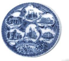 Antique Charleston West Virginia Souvenir Plate - Flow Blue, English Staffordshire, Rare Town Commemorative Dish, Historic South