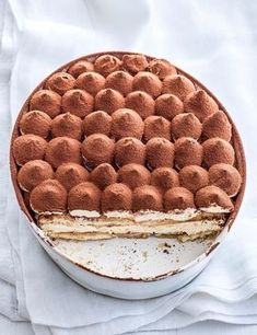 Baileys Tiramisu in a dish with a slice cut out