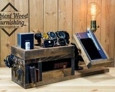 Wood Docking Station Lamp With BedSide Utility Storage Box and Apple watch dock charger