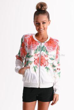 yas bomber jacket - white | Esther clothing