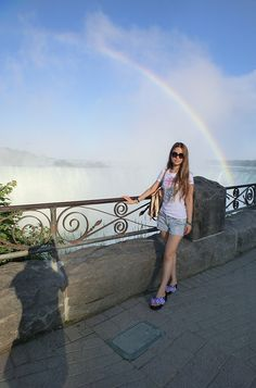 In Niagara Fall, my friend help me to take a photo.