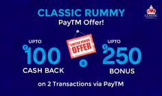 Classic Rummy Double Win Offer! Deposit via PayTM wallet & Grab Cash Bonus upto Rs.500 & PayTM Cashback upto Rs.200 on your 1st two transactions.  Hurry! Offer Ending Soon.  #rummy, #classicrummy, #paytm #paytmspecialoffer #specialoffer #paytmoffer #onlinerummy #cardgames #cards #Indianrummy #cashback #offer #cashbonus