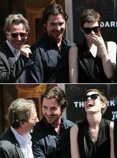 Christian Bale, Anne Hathaway and Gary Oldman are clearly taking the mickey at something!!
