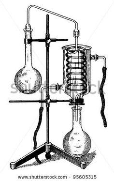 "Old Chemical Laboratory Equipment illustration engraving, from book ""Vereinigte Fabriken fur Laboratoriumsbedarf"", 1905, Berlin - stock photo"