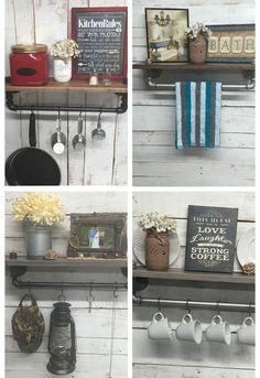 rustic farmhouse inspired shelf, shelving ideas, Use in Kitchen Bath or Entryway