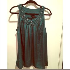 SALE - Emerald silky top - plus size Jewel-tone emerald green top with rhinestone accents at neckline. Great condition. Flows over a curvy body and looks great on plus size figures! Fits a 14-18. Lane Bryant Tops Blouses