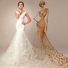 Trumpet/Mermaid Court Train Wedding Dress -V-neck Tulle – USD $ 206.99