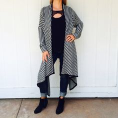 NEW Long cardigan Black and white striped cardigan • long sleeves • no size tag, will fit size S/M BB Dakota Sweaters Cardigans