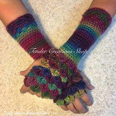 Dragon Scale Gloves/Fingerless Gloves/Dragon Gloves/Crocodile Gloves/Crochet Gloves/