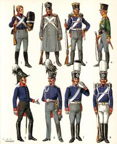 Infantry. 1. 2nd Regiment, East Prussia 1815/ 2. Winter dress 1812 3.3rd Regiment Silesia 4. Silesian Volunteer. 5-8. Officers, NCO and Private 1st Guards Regiment