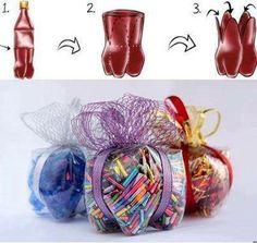 Unos originales y económicos empaques para los dulces en las fiestas infantiles. ¡Muy fácil de elaborar y lucen geniales!