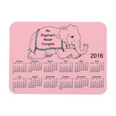 2016 Pink Elephant Calendar by Janz 3x4 Magnet