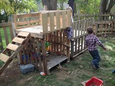 "This playhouse was made entirely out of pallets I found around town.  I used 2"" and 3"" wood screws.  Total cost was about $6.00 and 1 weekend.  It was great using pallets because it was more like free form assembling than actually building."